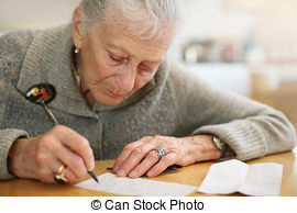 old lady writing